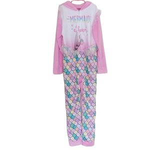 Up Late hooded one piece pink onesie pajama